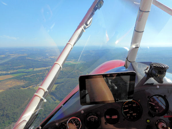 The Dordogne from the cabin of Weedhopper 28AAD